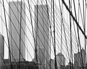 Twin Towers, World Trade Center, from Brooklyn Bridge , Old Photo Reproduction