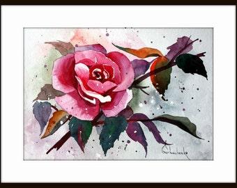 Rose Art Original Watercolor Painting