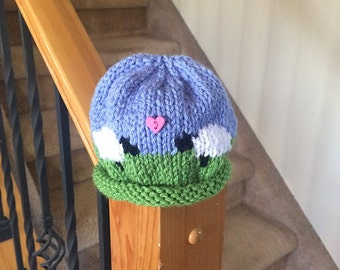 Cute Little Sheep Hat in Green and Blue - Ready to Ship