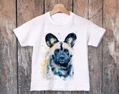 Wild Dog watercolor kids T-shirt, Boys' Clothing, Girls' Clothing, ring spun Cotton 100%, watercolor print T-shirt, T shirt art