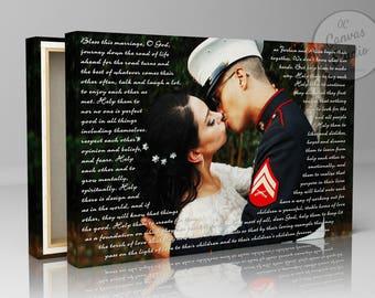 Custom song lyrics, custom canvas print, wedding photo with text, lyrics canvas print art, song lyrics print, custom wedding photo