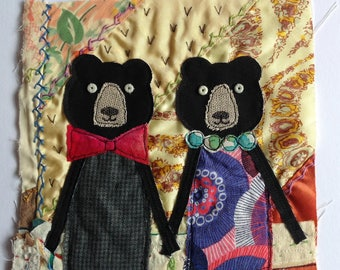 Valentines Anniversary Wedding Love Bears - Textile / fibre / embroidered / stitched wall art collage. Original appliqué and embroidery.