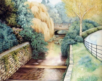 "Roath Park print | Cardiff park | Watercolour print | Welsh landscape | 7"" x 7"" | Watercolour by Helen Lush"
