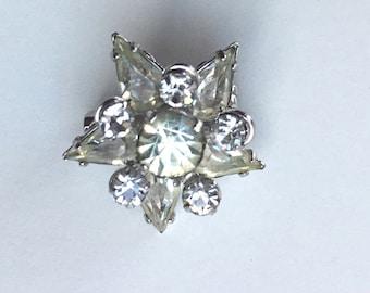 Small Vintage Starburst Rhinestone Brooch