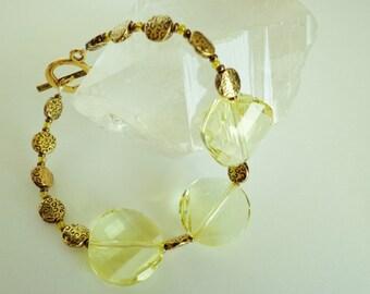 Swarovski Jonquil Crystal Twists Beaded Bracelet, Pale Yellow Glass Beads Bracelet