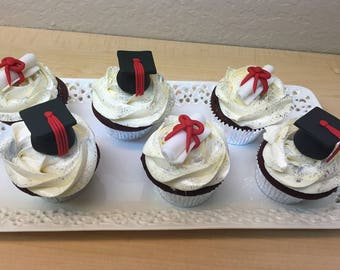 graduation hat and diplome cupcake topper,cupcake topper, graduation topper