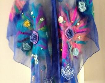 Silk embellished nuno felted scarf