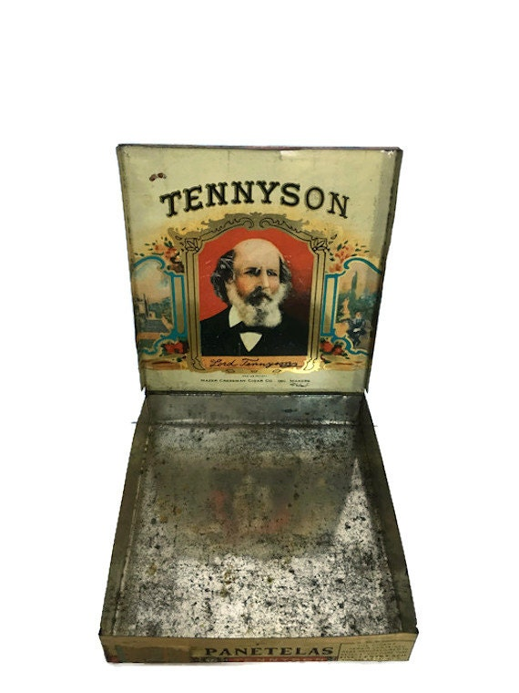 Tennyson cigar tin Mazer Cressman orange tax stamp cancelled 1930
