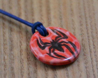 Spiderman Ceramic Medaillon on a Leather Necklace
