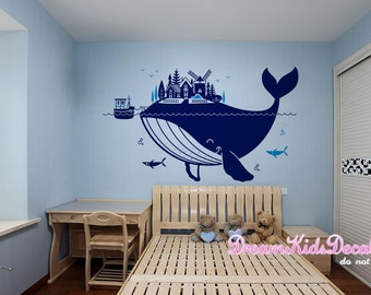 Cherry blossom tree wall decals nursery wall by dreamkidsdecal for Alex cherry flying whales wall mural