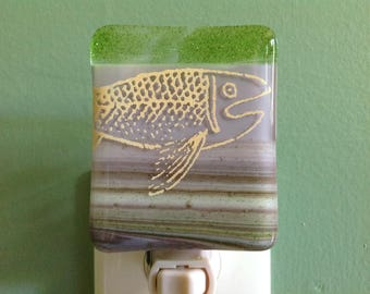 Fish, Fused Glass, Fishing, Fisherman, Kitchen, Bathroom, Night Light, Gift, Father's Day