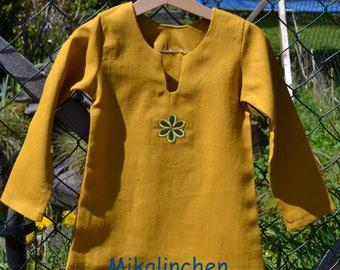 Shirt daisy flower linen yellow