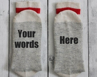 Socks, custom socks, funny socks, printed socks, your own words, handmade, perfect gift, Birthday gift, Men's socks, women's socks