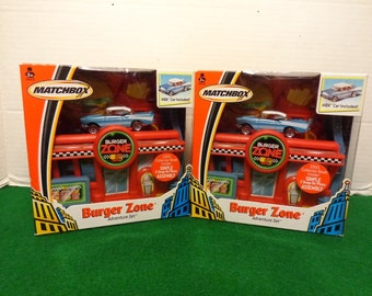 Matchbox 1957 Chevy Burger Zone Adventure Set  New old Stock Set of 2