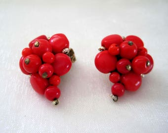 Vintage Clip On Earrings West Germany, Red Coral Cluster, Mid Century 1950s Vintage Jewelry