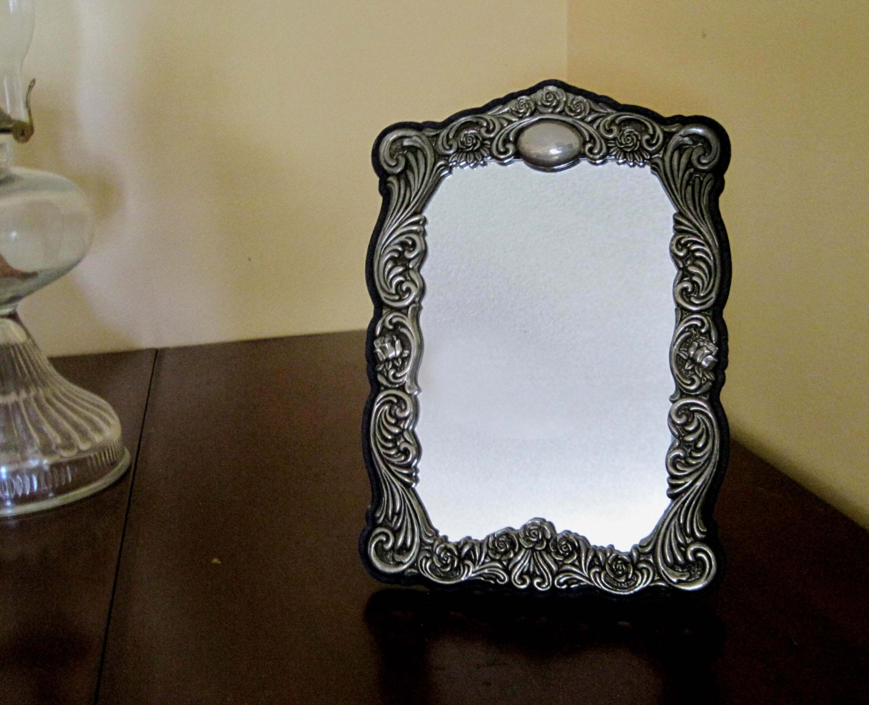 Silver Mirror Wall Photo Frame: Vintage Frame Mirror Repousse Silver Blue Velvet Backing