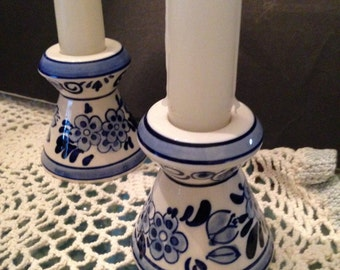 Pair of Elesva Delftware Candle Holders
