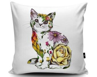 Floral Cat Cushion, Cat Gift, Floral Cat Pillow, Rose Cat Flower Cushion, Beautiful Cat Cushion, Floral Cat Decorative Cushion by Kat Baxter