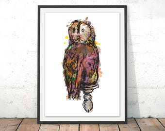 Owl Illustration Barn Owl Art Print Brown Owl Wall Art Owl Home Decor Owl Painting British Wildlife Print by Louise Whitmore
