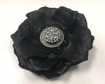 Black Rhinestone Hairflower