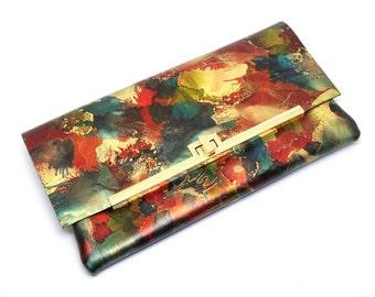 Luxury Multicoloured Evening Clutch Bag Purse, Leather, Wedding. 'Summer'