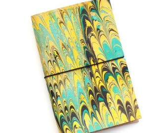 Unique Traveler's Leather Journal Pocket Field Notes Yellow Turquoise