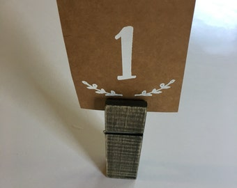 Clothespin table numbers (1-10) table numbers 1 inch x 5 inch, wedding table numbers, paper table numbers, rustic table numbers