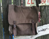 Brown, Vintage Canvas Messenger Bag, Cross Body Bag, Unisex Bag, Shoulder Bag, Military Bag, Tech Bag,Medic Bag,Book Bag, ipad bag, tote bag