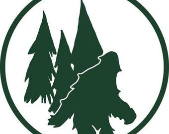 Bigfoot, Sasquatch, Yeti, Abominable Snowman, bigfoot window sticker, car sticker, window cling, bumper sticker, vinyl window decal, forest