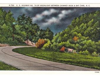Chimney Rock & Bat Cave North Carolina Vintage Postcard (unused)