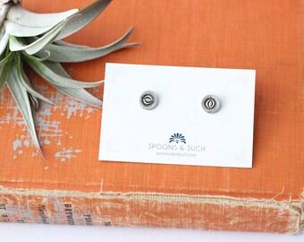Stud Earrings // Geometric // Sterling Silver // Stamped