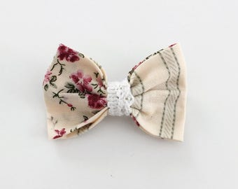 Boucle à rayures et fleurs - Flowers and stripes hair bow