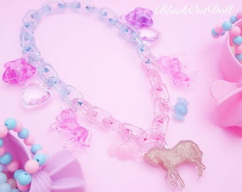 Unicorn Harajuku Decora Vivid Bright Chunky Thick Sparkly Statement Necklace