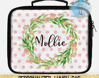 Lunch box - Personalized lunch bag - Monogram lunch bag - Monogram gift - Insulated lunch bag - Custom lunch bag - Back to school lunch bag