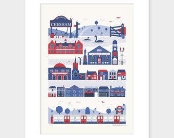 Chesham Town Mounted Print