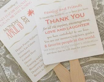 Beach Wedding Program Fans, Printable or Digital, Pink and Tan Wedding Programs