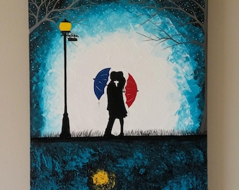 SALE Original Couple in rain painting,Couple kissing in the rain wall art,Couple with red umbrella painting,couple silhouette painting,16x20