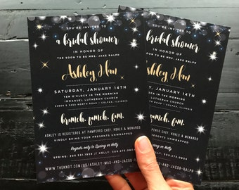 Custom Bridal Shower Invitations; sparkle, navy, gold, wedding design