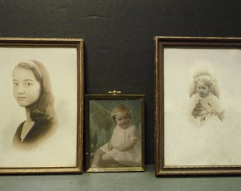 40% OFF -Three antique black and white photos in frames. All girls, from very young to sedate teenager!