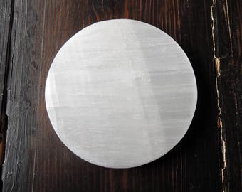 """Selenite Charging Disk 6"""" Crystal Healing Cleanse Crystals Plate White"""