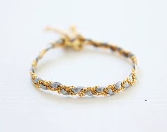 Braided bracelet leather gold or silver and gilded with fine gold chain