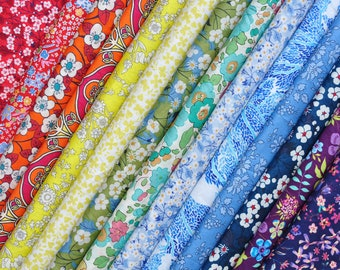 "14 LIBERTY fabric Tana Lawn  5"" x 5"" Patchwork pieces 'Rainbow''"