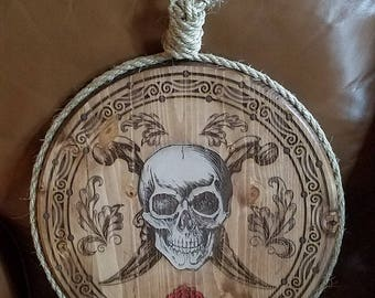 Engraved Pirate Wall Hanging; Jolly Roger Design, noose, skull, pirate art