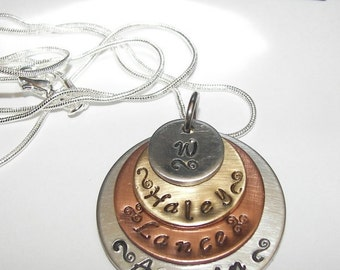 sterling silver, 4 layer mommy necklace, Hand stamped jewelry, mommy jewelry, engraved jewelry, layer stacked necklace, handstamped jewelry