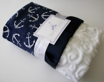 Navy and White Anchors with White Embossed Vine Minky and Coordinating Navy Satin Trim - Baby Blanket - Nautical, Girl, Crib Bedding