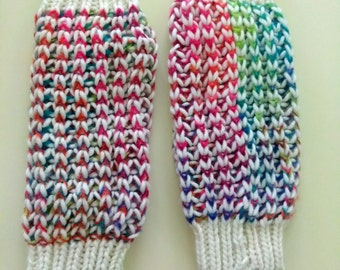 Chunky knit leg warmers, multicolored leg warmers