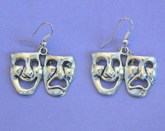 Silver Comedy & Tragedy Dangly Earrings,Theatre Earrings,Tibetan Silver,Tibetan Charm,Silver Earrings,Comedy and Tragedy Mask Earrings