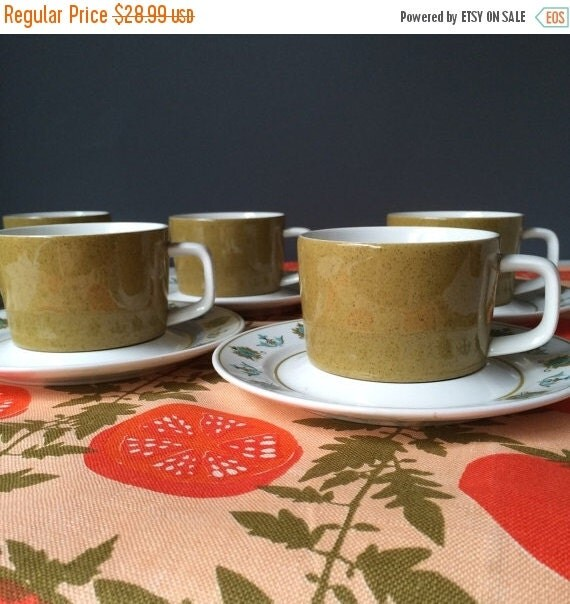 ON SALE Mikasa Mediterrania Avocado Green Cups and Saucers, Set for SIX, Vintage Tableware
