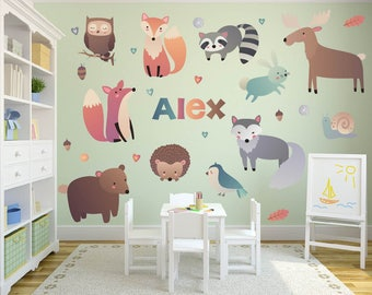 Woodland Theme Wall Decals, Nursery Wall Decals, Name Wall Decals, Woodland Animal Wall Decals, Woodland Nursery Decor