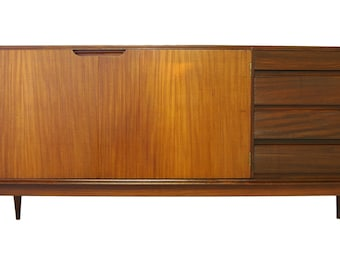 large mid century credenza or media console with contrasting grain s936